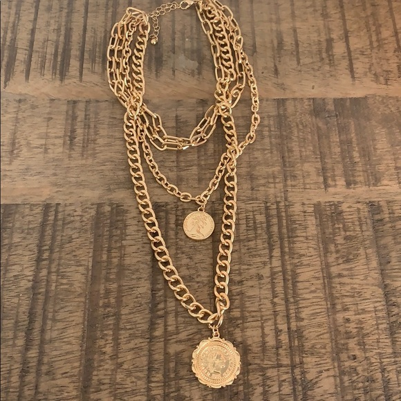Four strand coin necklace